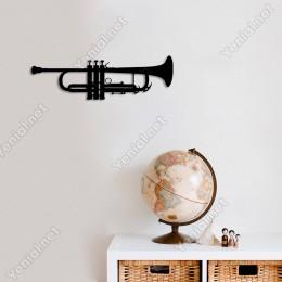 Trompet Duvar Oda Ev Aksesuarı Ahşap Tablo 50x15cm
