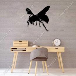 Uçmaya Çalışan Zehirli Arı Duvar Oda Ev Aksesuarı Ahşap Tablo 45x50cm