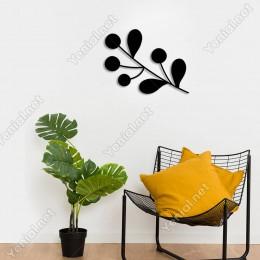 Yaprak ve Kiraz Deseni Parlak Duvar Oda Ev Aksesuarı Ahşap Tablo 50x38cm