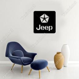 Yıldızlı Jeep Araba Logosu Duvar Oda Ev Aksesuarı Ahşap Tablo 49x50cm