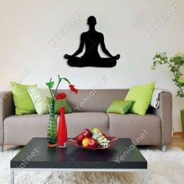 Yoga Yapan Kadın Figürü Duvar Oda Ev Aksesuarı Ahşap Tablo 50x45cm
