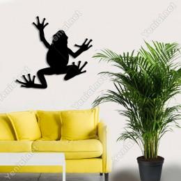 Yukarıya Doğru Yürüyüp Giden Kurbağa Duvar Oda Aksesuarı Ahşap Tablo 50x47cm