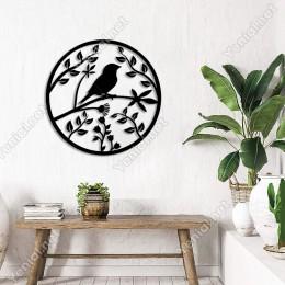 Yuvarlak Şeklin İçinde Kuş ve Çiçekler Duvar Oda Aksesuar Ahşap Tablo 50x50cm