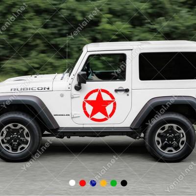 Askeri Yıldız Army Star Off Road Jeep Sticker 2 Adet Sağ Sol Set Araba Sticker, Oto Sticker, Araba Çıkartmaları, Jeep için Aksesuarlar, 4X4 Sticker, Laptop ve Duvar için