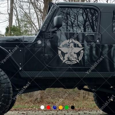 Off Road Army Asker Yıldız Sağ Sol İçin Set 2 Adet Sticker Araba Sticker, Oto Sticker, Araba Çıkartmaları, Jeep için Aksesuarlar, 4X4 Sticker, Laptop ve Duvar için