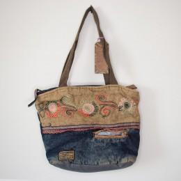 Old Cotton Cargo Kc Eva Bag Omuz Çantası 4005 Patchwork Kadınlar için Omuz Çantası - Okul, Seyahat Çantası