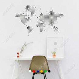 Nokta Nokta Dünya Haritası Duvar Oda Salon İş Yeri İçin Sticker 60x38cm