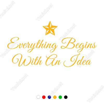 Everything Begins With An İdea Duvar Stickerı 60x31cm