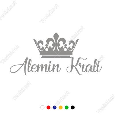 Taç ve Alemin Kralı Yazısı Duvar Stickerı 60x27cm