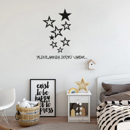 Yıldızlarında Dostu Vardır Duvar Yazısı Sticker 60x60cm