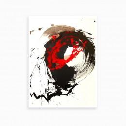 Duvar  İçin Resim Akışkan Kırmızı ve Siyah 35x25 cm