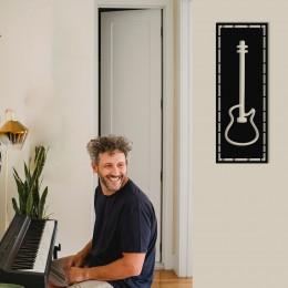 Çerçeve İçinde Gitar Tasarım Metal Tablosu 70x25cm
