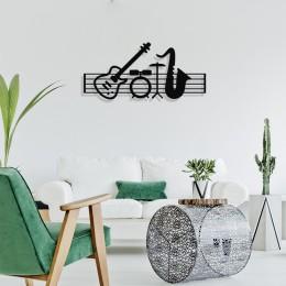 Çerçeve İçinde Jazz Music ve Piyano Gitar Davul Tasarım Metal Tablosu 70x32cm
