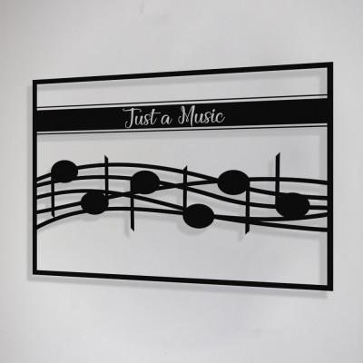 Çerçeve İçinde Just A Music ve Notalar Tasarım Metal Tablosu 70x50cm