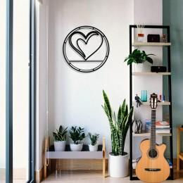 Çerçeve İçinde Kalp Simgesi Tasarım Metal Tablosu 50x50cm