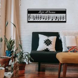 Çerçeve İçinde Love At Home ve Notalar Tasarım Metal Tablosu 70x25cm