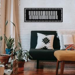 Çerçeve İçinde Modern Jazz Music ve Piyano Tasarım Metal Tablosu 70x25cm