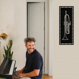 Çerçeve İçinde Saksafon Tasarım Metal Tablosu 70x25cm
