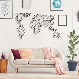 Dünya Haritası Geometrik Duvar Oda Ev Aksesuarı Metal Tablo