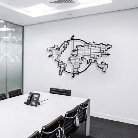 Dünya Haritası Pusula Dikdörtgen Şekiller Duvar Oda Ev Aksesuarı Metal Tablo