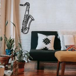 Jazz Music Kontürlü Saksafon Tasarım Metal Tablosu 65x30cm