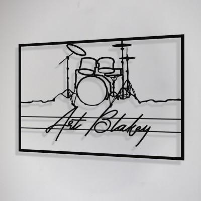Jazz Müzik Davul ve Art Blakey Çerçeveli Tasarım Metal Tablosu 65x47cm