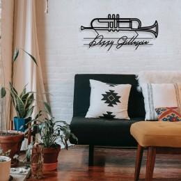 Jazz Müzik Saksafon ve Dizzy Gillespie Tasarım Metal Tablosu 65x31cm