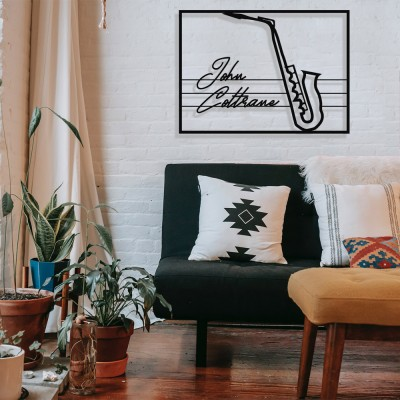 Jazz Müzik Saksafon ve John Coltrane Çerçeveli Tasarım Metal Tablosu 65x47cm