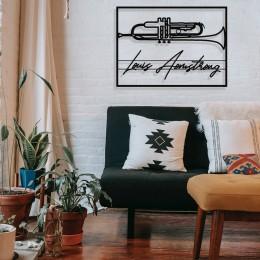 Jazz Müzik Saksafon ve Louis Armstrong Çerçeveli Tasarım Metal Tablosu 65x47cm