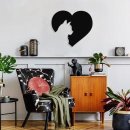 Kalpli Kedi Duvar Oda Ev Aksesuarı Metal Tablo 50x43cm