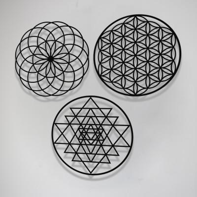 Yaşam Çiçeği - Sri Yantra - Torus Metal Tablo 3'lü Set 50x50cm