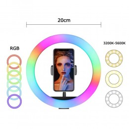 """Youtuber Kuaför Makyaj Çekimleri için 8"""" RGB Ring Light + 20cm Masaüstü Tripod"""