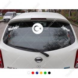Yuvarlak İçinde Ayyıldız ve Kişiye Özel 2 Adet İsim Stickerları