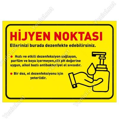 Hijyen Noktası Sarı Zeminli Yatay Afiş Sticker Yapıştırma