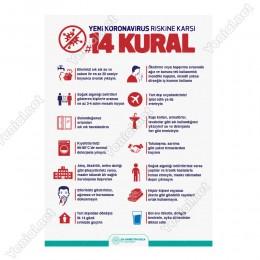 Koranavirüs Riskine Karşı 14 Kural Beyaz Zemin Yazısı Kızılay Afişi Stickerı