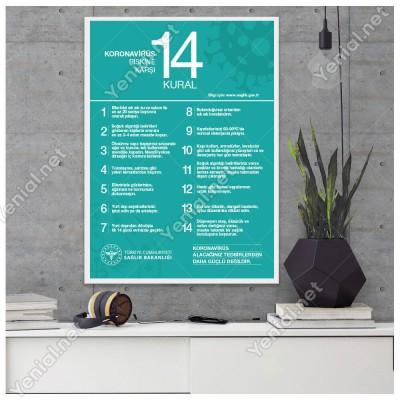 Koranavirüs Riskine Karşı 14 Kural Mavi Zemin Yazısı Afişi Stickerı