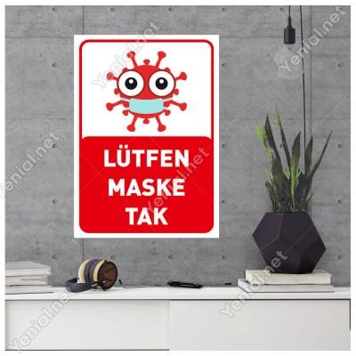 Lütfen Maske Tak Korana Simgeli Çocuklar İçin Sticker Afiş