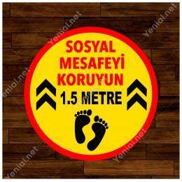 Lütfen Sağlığınız İçin Sosyal Mesafeyi Koruyalım 1.5 Metre Ayak İzi Sticker