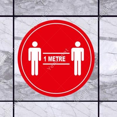 Lütfen Sağlığınız İçin Sosyal Mesafeyi Koruyalım 1 Metre Mesafe İzi Sticker