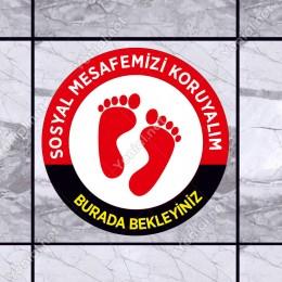 Lütfen Sağlığınız İçin Sosyal Mesafeyi Koruyalım Yazısı Kırmızı Ve Siyah Renk Sticker