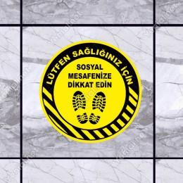 Lütfen Sağlığınız İçin Sosyal Mesafeyi Koruyalım Yazısı Sarı Renk Sticker