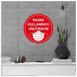 Maske Kullanmayı Unutmayın Sticker Afiş Duvar İçin