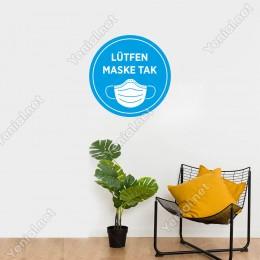 Maske Tak Mavi Renk Sticker Afiş Duvar İçin