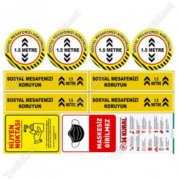 Sosyal Mesafe Stickerları Set Sosyal Mesafe Maskesiz Girilmez 14 Kural 3mm Dekoteli SET