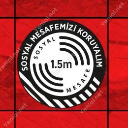 Sosyal Mesafenizi Koruyalım Yazılı Yere Yapıştırılacak Sticker Afiş