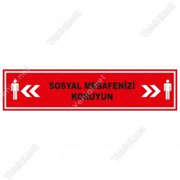 Sosyal Mesafenizi Koruyun Yazısı Kırmızı Renk Yere Yapıştırılacak Sticker Afiş 12x50cm
