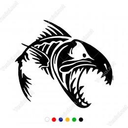 Ağzı Açık Büyük Dişli Köpek Balığı Yapıştırma Sticker