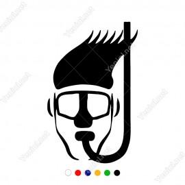 Ağzında Maske Olan Yüzücü Etiket Sticker Yapıştırma