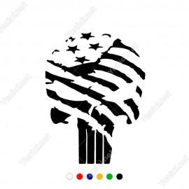 Amerikan Bayrağı ve Punisher Etiket Sticker Yapıştırma