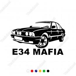 Bmw E-34 Mafıa Yazısı ve Arabası Sticker